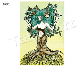 Earth Element Watercolour Original - A3