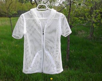 Mesh Vest Crochet Vest,Knitted Pattern,Vintage Chic Vest,Shrug bolero,Cropped sweater, Women's Vest, Hooded Mesh Vest