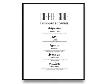 Coffee Guide Print, Coffee Art Printable, Coffee Art Decor, Coffee Print, Coffee Art Print, Coffee Kitchen Print, Printable Art, Art Prints