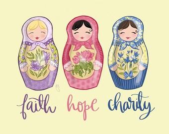 Faith, Hope, Charity - Art Print, Printable, Babushka Dolls, Russian Nesting Dolls, Matryoshka Dolls, Baby Girl Nursery, Nursery wall decor