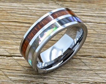 Men's Tungsten Ring Hawaiian With Koa Wood, Abalone Inlay 8mm Comfort Fit Band