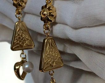 Long Goldcolor Flower /Hearts and Pearls Post Earrings
