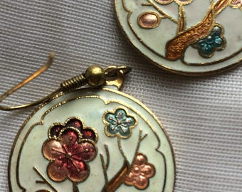 Cloisonne Dogwood Branch Flowers Pierced Earrings