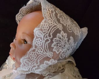 Ivory Lace Baby Bonnet for Christening Gown Baptism Dress Photo Shoots