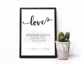 Love Wedding Print, Wedding Gift, Anniversary Gift, Printable Gift