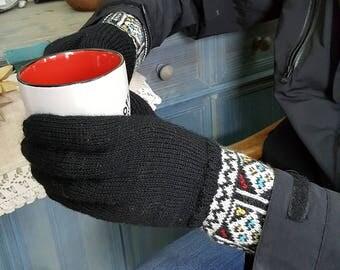 Jacquard Pattern Women Winter Gloves Cold Weather Hand Knit Woolen Gloves Set Gloves Hat Collar Gift for Him Gloves Knit Fair Trade Gloves