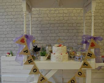 Photo Booth Burlap Wedding Bunting Celebration Engagement Party Banner Bunting Decoration colorful hearts black, hessian bunting