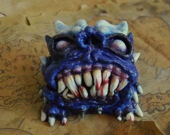 """Jewelry Box """" Blue Devil """" , Monster, imp , Piggy bank, papier-mache, terrible and dangerous, gift , Trunk, shocking , unique,  Blue , Devil"""