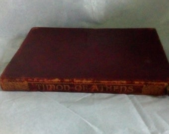 Antique Shakespeare, leather bound Shakespeare, Timon of Athens, gilt title to spine. Antique book, antique play, antique classics.