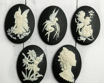5 cameo made in Germany 30x40mm cabochon (L) fairy girl fantasy fairy tale women 30 * 40 C001
