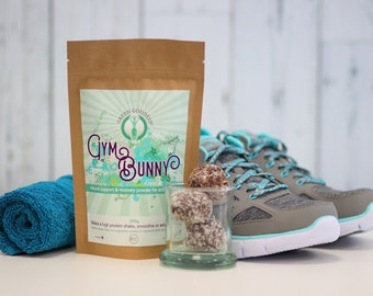 Gym bunny protein powder 100g with pea protein and hemp powder raw cacao raw banana and maca natural vegan friendly gluten free and organic