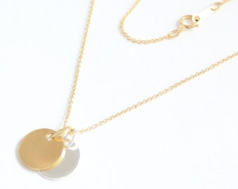 24 Carat Gold over 925 Sterling Silver Disc Contrast Necklace with Personalised Engraving, Includes Gift Box & Free Shipping