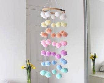 Pastel Pom Pom Hanging Mobile / Baby Mobile / Nursery Mobile / Nursery Decor / Pom Poms / Baby Decor / Wall Art / Hanging Mobile