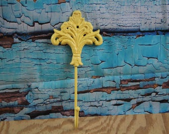 Cast Iron Decorative ornate Wall Hook Yellow