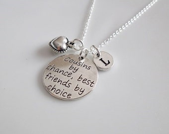 Cousin gift, Cousins by chance best friends by choice, Gift for Cousin, jewelry for Cousin, Silver chain neccklace, Friendship gift
