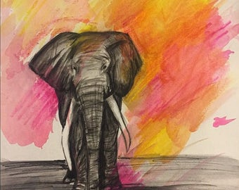 Elephant Original Watercolor Kids Room