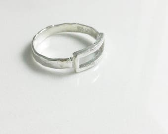 Rectangle hammered Ring