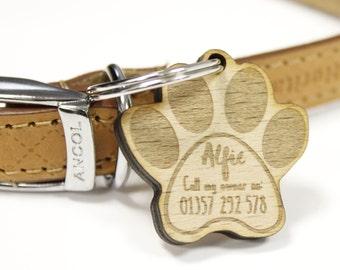 Personalised Paw Print Dog Tag | Wood