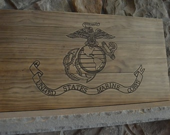 Distressed Wooden Marine Corps Flag, laser engraved