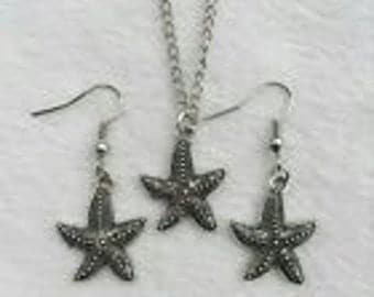 Retro styled Silver Starfish Necklace & earrings