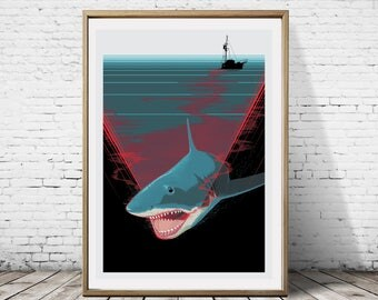 Jaws By Spielberg The Great White Shark Alternative Artwork Movie Film Cover Print Poster Wall Decor