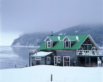 Chalet at Auberge-Coin-du-Banc and a winter fog over Cannes-de-Roches and the Three-Sisters at Percé