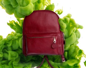 Leather backpack, red leather backpack, marsala backpack, leather bag