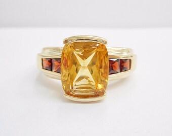 Garnet Ring, Citrine Ring, Gold Garnet Ring, Vintage Gold Ring, 10k Yellow Gold Emerald Cut Citrine & Garnet Ring Sz 6.75 #1355
