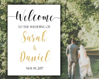 Wedding sign Welcome wedding sign Printable welcome wedding Wedding welcome Gold wedding sign Personalized wedding printable Custom wedding