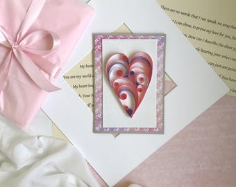 Free Shipping/ 3D Quilling filigree Card - Quilling Wedding congratulations card - Quilling love card - Unique Quilling card -Quilling patte