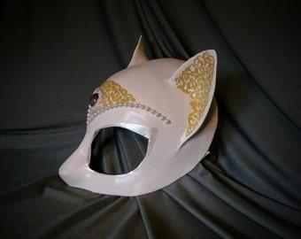 White Cat Mask-  Half Mask, Animal Mask, Theater Mask, Costume Mask, Paper Mache Mask, Fantasy mask, Stage Wear. Festival Mask