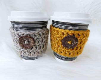 Coffee cozy - cup holder - travel mug - crochet cozy - mothers day gift - java jacket - coffee cup sleeve - tea cup sleeve - tea cozies