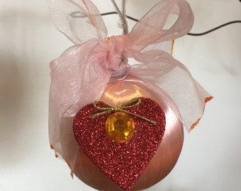 Pink Satin Red Heart Valentine Ball