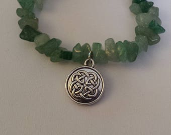 Green Adventurine bracelet with Celtic knot charm