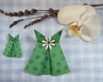Origami, Green Dresses, material creation, dress, paper dress, mini dress, green dress with flower dress.