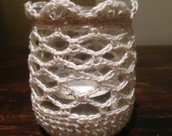 3 cotton crochet-wrapped Crystal candle holder