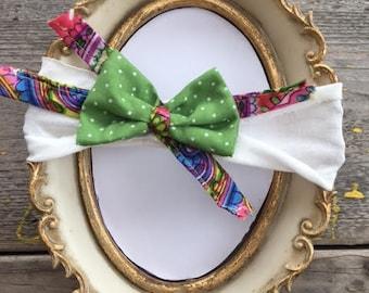 Baby headband, Newborn Headband, Baby girl headband, Hair Bows ,Headband ,Green With Points  Headband, white ribbon