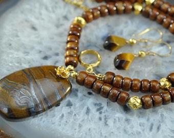 Marra Mamba tigereye Pendant golden Coral gold necklace set
