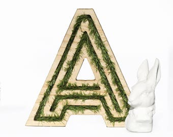 On demand : Wooden letters filled with grass for home decor, to lay on furniture or to hang on the wall. Choose your letter(s)