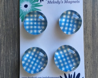 Blue Basket Weave Magnets