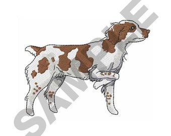 Brittany Spaniel On Point = Machine Embroidery Design