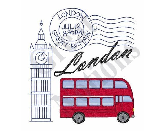 London travel machine embroidery design from