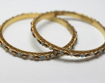 Stunning!! Estate 22K Yellow Gold Enamel Bangle Bracelet Set of Two 38 Grams