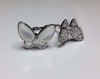 Estate 18K White Gold Two Butterfly Mother Of Pearl & 0.51 CTW Diamond Ring 6.5