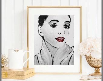 "Makeup Desk Artwork Modern Beauty Original ""Confidence"" by Kichael Bonofiglio"