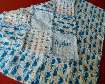 Handmade Baby's Cotton Flannel Blue And Red Rag Quilt Throw - Whales, Anchors and Sailboats