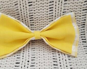 Hair Bow, Yellow Check