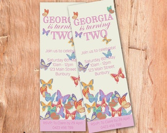 Butterfly Invitation, , Party Invitation for Girls, Girls Birthday Invitations, Printable Invites, Girls Party Invitations, Party Printables