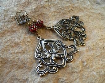 Earrings * Tango *, antique jewelry, Victorian, Art Nouveau, earrings brass, red earrings, costume jewellery, medieval, Gothic