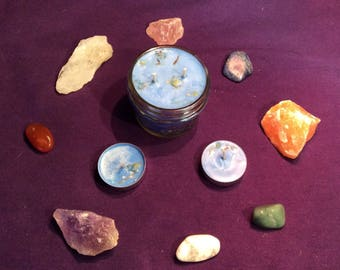 Intention candles infused with herbs and crystals free shipping